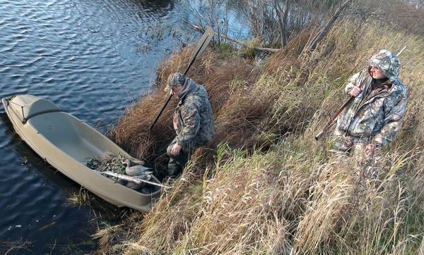 Камуфляж на охоте, каное для утиной охоты